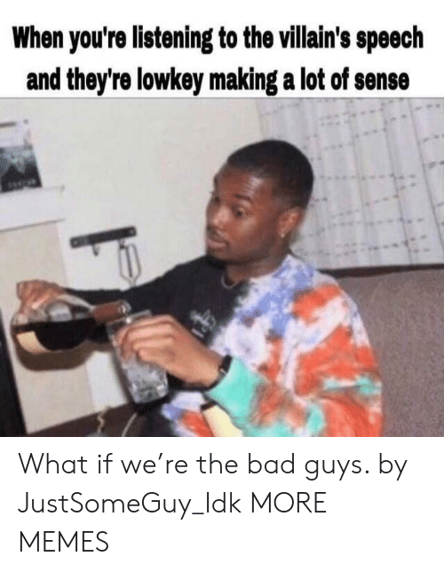 Bad, Dank, and Memes: When you're listening to the villain's speech  and they're lowkey making a lot of sense What if we're the bad guys. by JustSomeGuy_Idk MORE MEMES
