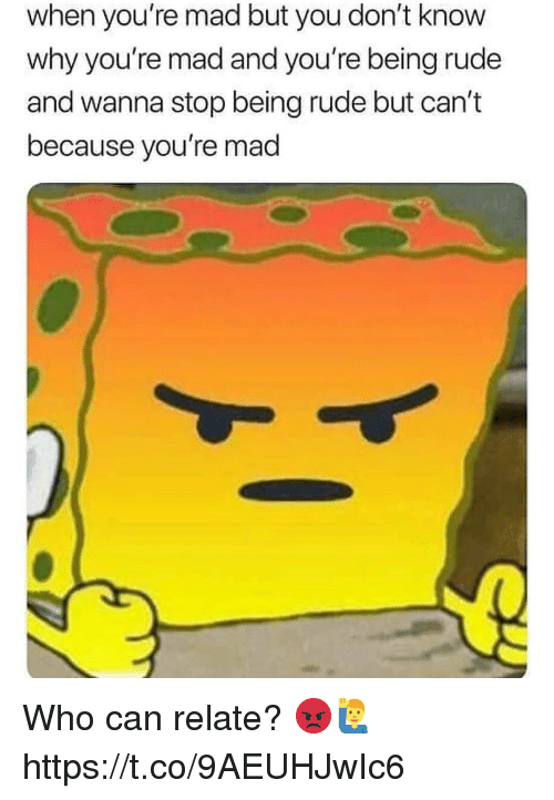 Rude, Mad, and Who: when you're mad but you don't know  why you're mad and you're being rude  and wanna stop being rude but can't  because you're mad Who can relate? 😡🙋♂️ https://t.co/9AEUHJwIc6
