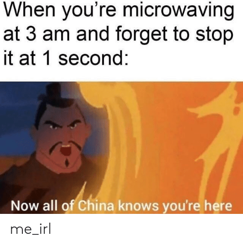 China, Irl, and Me IRL: When you're microwaving  at 3 am and forget to stop  it at 1 second:  Now all of China knows you're here me_irl