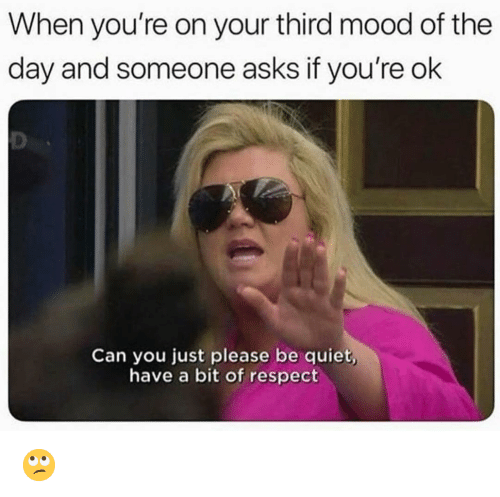 Funny, Mood, and Respect: When you're on your third mood of the  day and someone asks if you're ok  Can you just please be quiet,  have a bit of respect 🙄