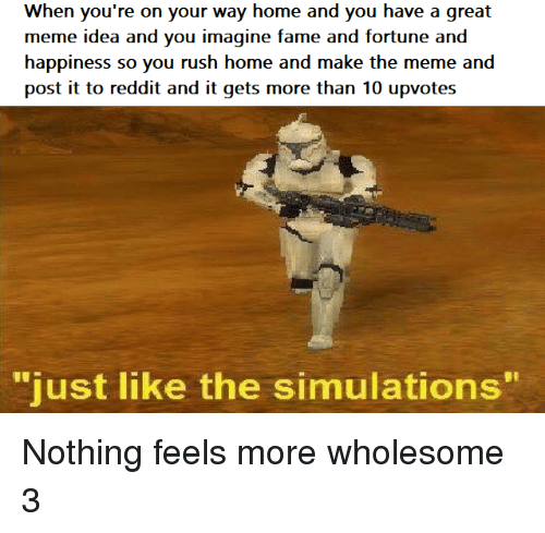 "Meme, Reddit, and Home: When you're on your way home and you have a great  meme idea and you imagine fame and fortune and  happiness so you rush home and make the meme and  post it to reddit and it gets more than 10 upvotes  ""  just like the simulations  "" Nothing feels more wholesome 3"