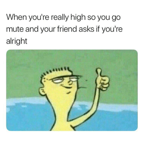 Memes, Mute, and Alright: When you're really high so you go  mute and your friend asks if you're  alright