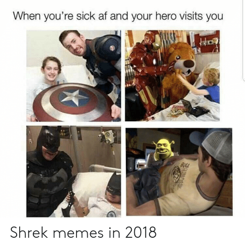 Af, Memes, and Shrek: When you're sick af and your hero visits you Shrek memes in 2018