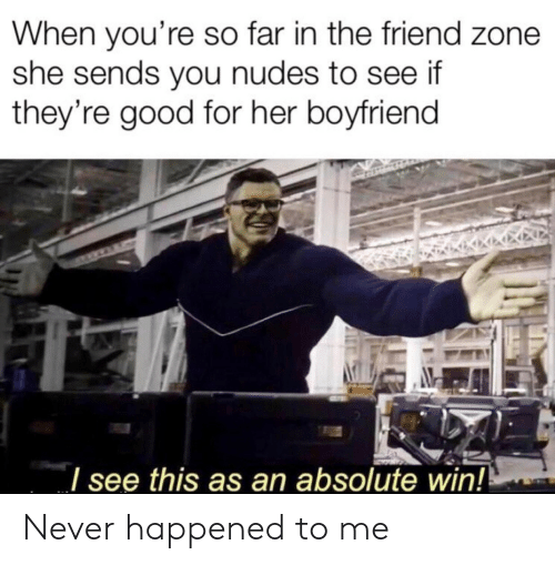 The Friend Zone: When you're so far in the friend zone  she sends you nudes to see if  they're good for her boyfriend  see this as an absolute win! Never happened to me