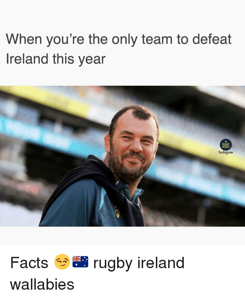 Facts, Memes, and Ireland: When you're the only team to defeat  Ireland this year  RUGBY  MEMES  Instagam Facts 😏🇦🇺 rugby ireland wallabies