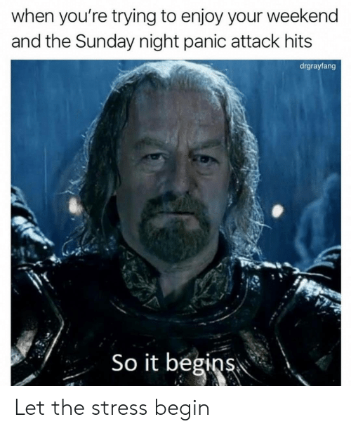 it begins: when you're trying to enjoy your weekend  and the Sunday night panic attack hits  drgrayfang  So it begins Let the stress begin