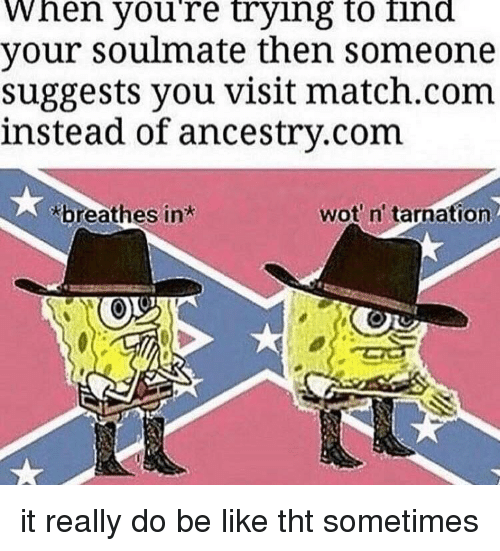ancestry.com: When youre trying to ind  your soulmate then someone  suggests you visit match.com  instead of ancestry.com  breathes in  wot n' tarnation it really do be like tht sometimes