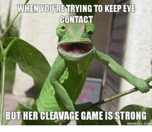 Cleavag: WHEN YOURE TRYING TO KEEP EYE  CONTACT  BUT HER CLEAVAGE GAMEISSTRONG  MEMEFUL COM