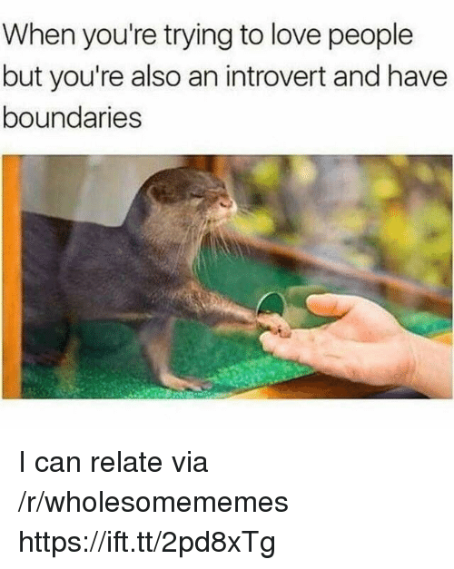 Introvert, Love, and Can: When you're trying to love people  but you're also an introvert and have  boundaries I can relate via /r/wholesomememes https://ift.tt/2pd8xTg