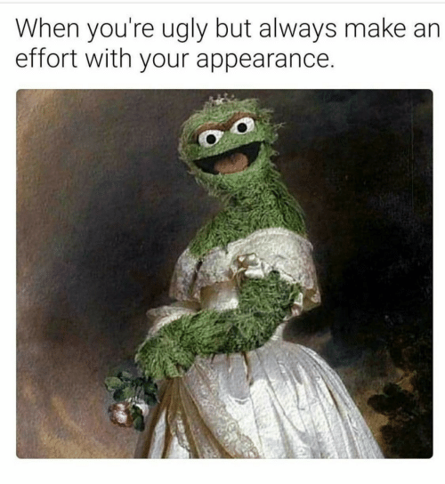Ugly, Make, and Youre: When you're ugly but always make  effort with your appearance.