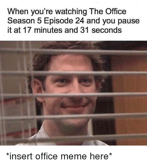 Office Meme: When you're watching The Office  Season 5 Episode 24 and you pause  it at 17 minutes and 31 seconds *insert office meme here*