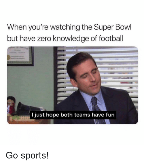 Go Sports: When you're watching the Super Bowl  but have zero knowledge of football  I just hope both teams have fun