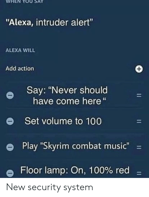 "Anaconda, Music, and Skyrim: WHEN YOUSAY  ""Alexa, intruder alert""  ALEXA WILL  Add action  Say: ""Never should  have come here""  e  Set volume to 100  e Play ""Skyrim combat music""-  Floor lamp: On, 100% red- New security system"