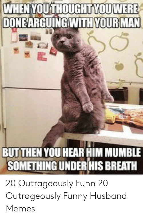 Funny Husband Memes: WHEN YOUTHOUGHTYOU WERE  DONEARGUINGWITH YOUR MAN  BUTTHEN YOU HEAR HIM MUMBLE  SOMETHINGUNDERHIS BREATH 20 Outrageously Funn  20 Outrageously Funny Husband Memes