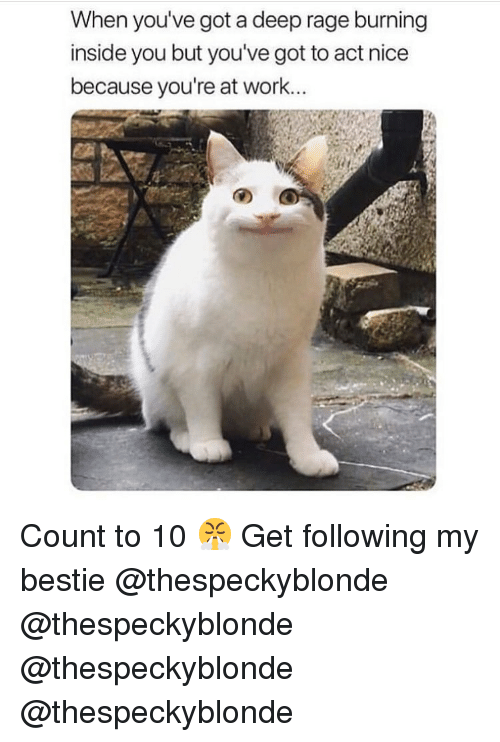 Memes, Work, and Nice: When you've got a deep rage burning  inside you but you've got to act nice  because you're at work... Count to 10 😤 Get following my bestie @thespeckyblonde @thespeckyblonde @thespeckyblonde @thespeckyblonde