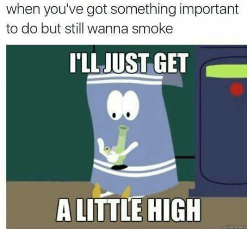 A Little High: when you've got something important  to do but still wanna smoke  'LLJUST GET  Co  A LITTLE HIGH