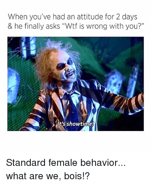 "Memes, Wtf, and Showtime: When you've had an attitude for 2 days  & he finally asks ""Wtf is wrong with you?""  it's showtime! Standard female behavior... what are we, bois!?"