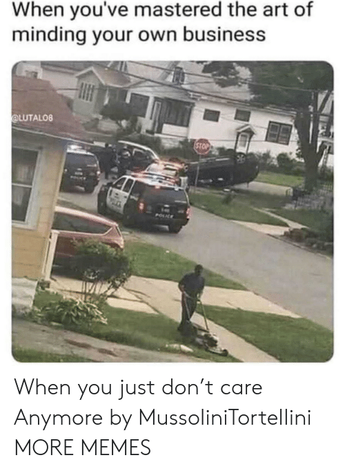 Dank, Memes, and Target: When you've mastered the art of  minding your own business  OLUTALO8 When you just don't care Anymore by MussoIiniTorteIIini MORE MEMES
