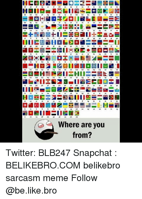 Be Like, Meme, and Memes: Where are you  from? Twitter: BLB247 Snapchat : BELIKEBRO.COM belikebro sarcasm meme Follow @be.like.bro