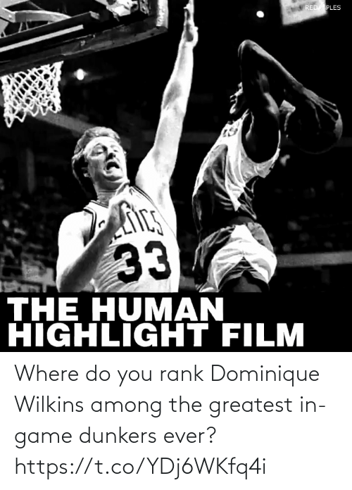 Wilkins: Where do you rank Dominique Wilkins among the greatest in-game dunkers ever? https://t.co/YDj6WKfq4i
