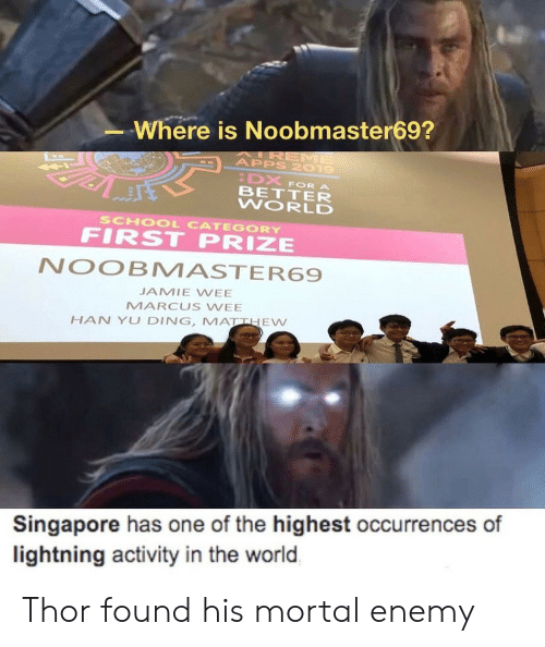 Ding: Where is Noobmaster69?  AIREME  APPS 2019  DX  BETTER  WORLD  FOR A  SCHOOL CATEGORY  FIRST PRIZE  NOOBMASTER69  JAMIE WEE  MARCUS WEE  HAN YU DING, MATTHEW  Singapore has one of the highest occurrences of  lightning activity in the world Thor found his mortal enemy