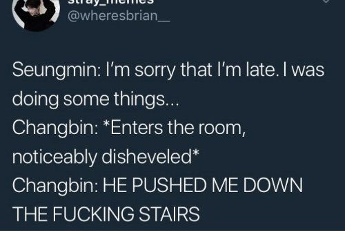 Fucking, Sorry, and Down: @wheresbrian  Seungmin: I'm sorry that I'm late. I was  doing some things..  Changbin: *Enters the room,  noticeably disheveled  Changbin: HE PUSHED ME DOWN  THE FUCKING STAIRS