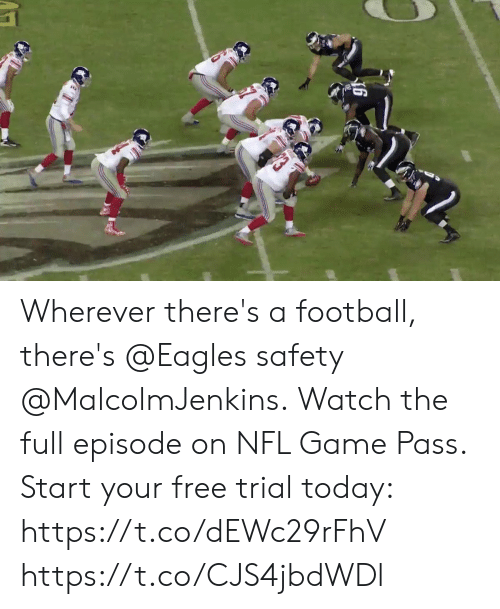 Wherever: Wherever there's a football, there's @Eagles safety @MalcolmJenkins.  Watch the full episode on NFL Game Pass. Start your free trial today: https://t.co/dEWc29rFhV https://t.co/CJS4jbdWDl