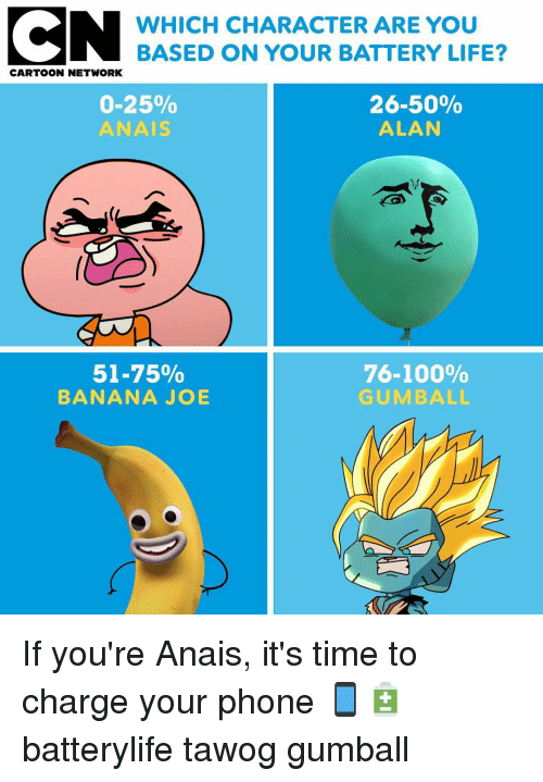 Cartoon Network: WHICH CHARACTER ARE YOU  BASED ON YOUR BATTERY LIFE?  CARTOON NETWORK  0-25%  ANAIS  26-50%  ALAN  51-75%  BANANA JOB  76-100%  GUMBALL If you're Anais, it's time to charge your phone 📱🔋 batterylife tawog gumball