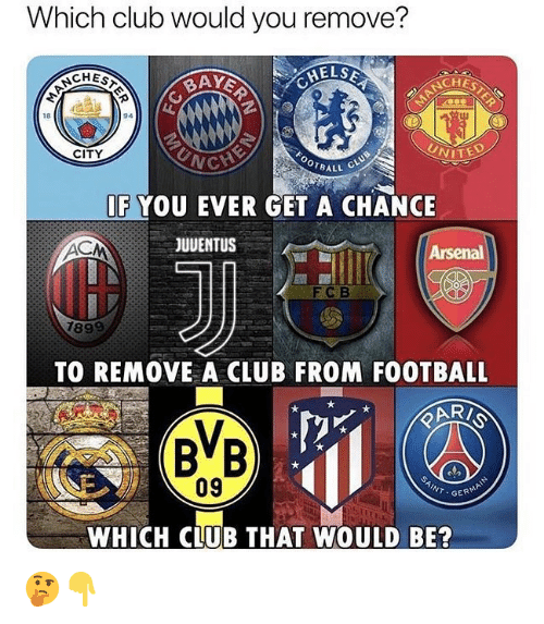 Arsenal, Club, and Football: Which club would you remove?  AY  NCHE  18  94  CITY  VITED  OTBALL  IF YOU EVER GET A CHANCE  JUVENTUS  Arsenal  FC B  TO REMOVE A CLUB FROM FOOTBALL  09  INT.GER  WHICH CLUB THAT WOULD BE? 🤔👇