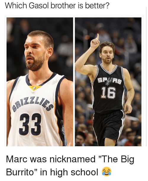 "Memes, 🤖, and Brother: Which Gasol brother is better?  SPA RS  15 Marc was nicknamed ""The Big Burrito"" in high school 😂"