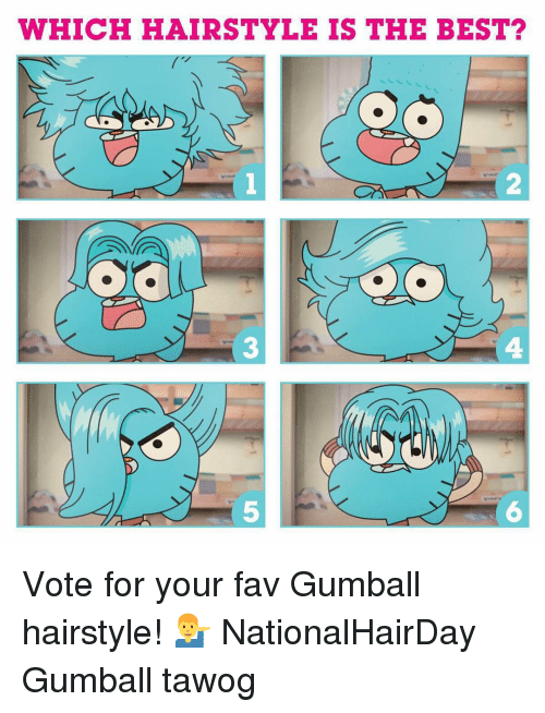 Memes, Best, and 🤖: WHICH HAIRSTYLE IS THE BEST  2  3  4  5  6 Vote for your fav Gumball hairstyle! 💁‍♂️ NationalHairDay Gumball tawog