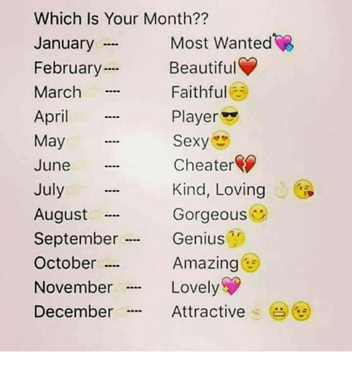 "Geniusism: Which Is Your Month??  January  February  March  April  May  June  July  August  September .  October …  November  December  Most Wanted  Beautiful  Faithful  Player  Sexy  Cheater  Kind, Loving  Gorgeous  Genius  Amazing  Lovely  Attractive .  (  ""…"