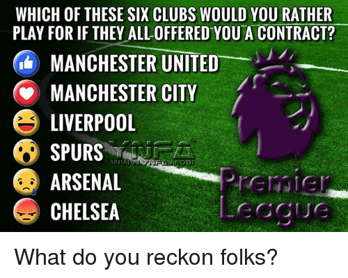 Reckonize: WHICH OF THESE SIX CLUBS WOULD YOU RATHER  PLAY FORIF THEY ALL OFFERED YOU A CONTRACT?  MANCHESTER UNITED  MANCHESTER CITY  E LIVERPOOL  SPURS  ARSENAL  CHELSEA What do you reckon folks?