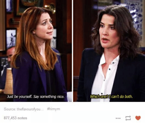 Nice, Himym, and Source: Which one?I can't do both  Just be yourself. Say something nice.  Source: theflavourofyou #himym  877,453 notes