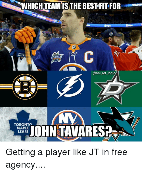 leafs: WHICH TEAM IS THE BEST FIT FOR  SKILLS  @nhl_ref_logi  TORONTO  MAPLE  LEAFS  AOHN TAVARES Getting a player like JT in free agency....