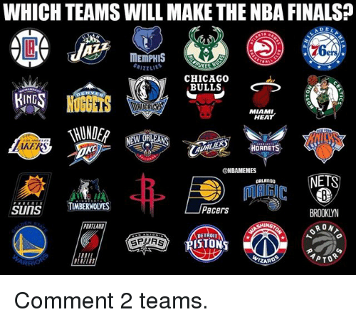 Chicago, Chicago Bulls, and Detroit: WHICH TEAMS WILL MAKE THE NBA FINALS?  MEMPHIS  UKEE  CHICAGO  BULLS  ING  0  MIAMI  HEAT  AKERS  ONBAMEMES  NETS  ORLANDO  SunSTMBERWOLYES  Pacers  BROOKLYN  RON  DRTLAND  DETROIT  SPURS  PISTON  ZARD Comment 2 teams.