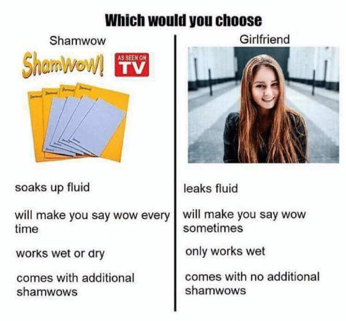 Wow, Time, and Girlfriend: Which would you choose  Shamwow  Girlfriend  Shamwow  AS SEEN ON  TV  soaks up fluid  leaks fluid  will make you say wow every will make you say wow  time  works wet or dry  comes with additional  sometimes  only works wet  comes with no additional  shamwows  shamwows