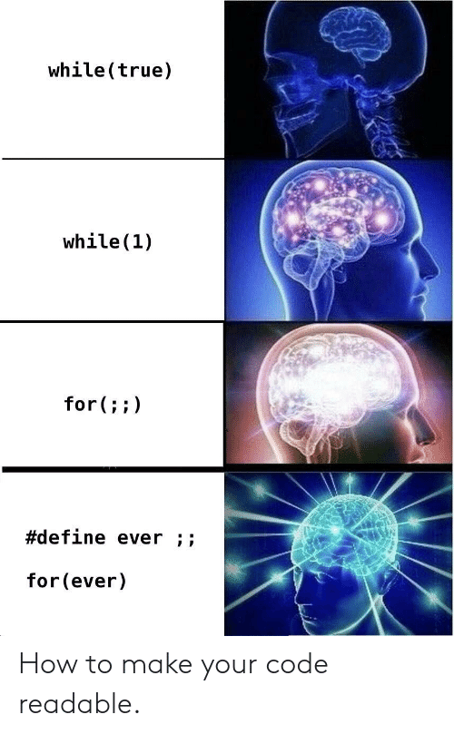 True, Define, and How To: while(true)  while(1)  for(;;)  #define ever ;;  for(ever) How to make your code readable.