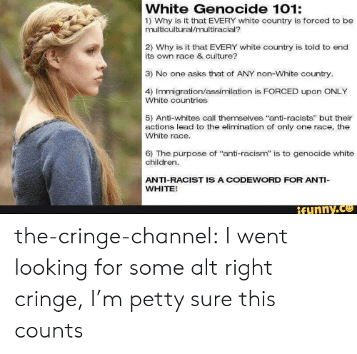 "Whites: White Genocide 101:  1) Why is it that EVERY white country is forced to be  multicultural/multiracial?  2) Why is it that EVERY white country is told to end  its own race & culture?  3) No one asks that of ANY non-White country.  4) Immigration/assimilation is FORCED upon ONLY  White countries  5) Anti-whites call themselves ""anti-racists"" but their  actions lead to the elimination of only one race, the  White race.  6) The purpose of ""anti-racism"" is to genocide white  children.  ANTI-RACIST IS A CODEWORD FOR ANTI-  WHITE!  ifynny.co the-cringe-channel:  I went looking for some alt right cringe, I'm petty sure this counts"
