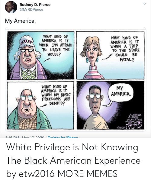 White: White Privilege is Not Knowing The Black American Experience by etw2016 MORE MEMES