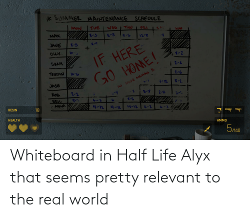real world: Whiteboard in Half Life Alyx that seems pretty relevant to the real world