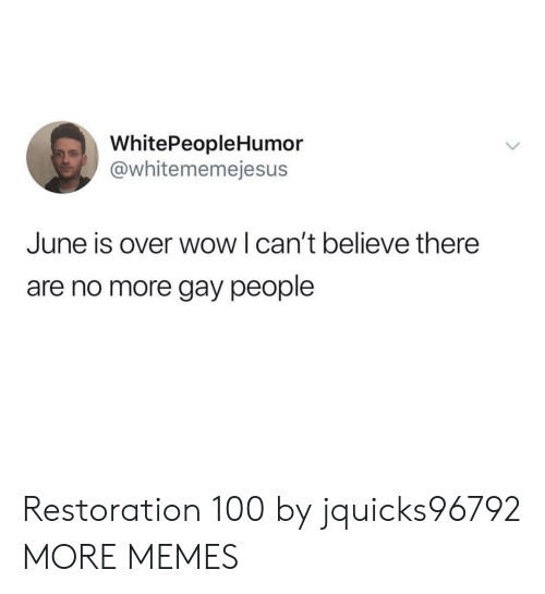 Dank, Memes, and Target: WhitePeopleHumor  @whitememejesus  June is over wow I can't believe there  are no more gay people Restoration 100 by jquicks96792 MORE MEMES