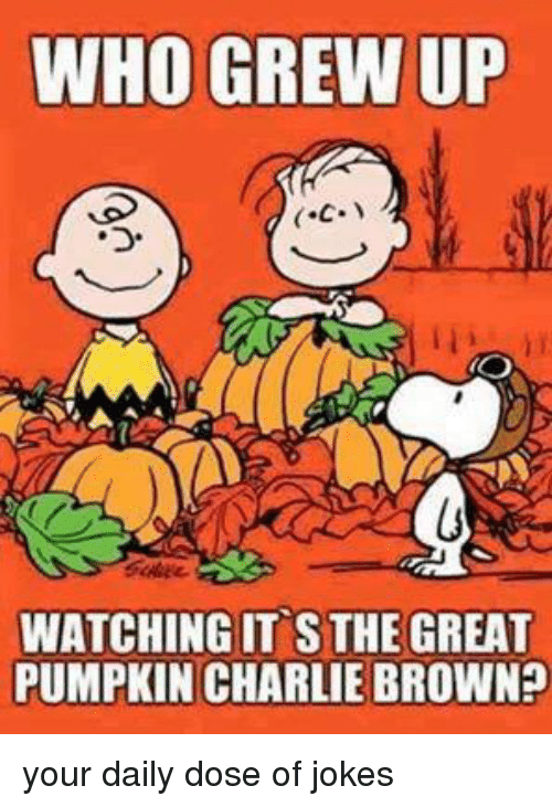 the great pumpkin charlie brown: WHO GREW UP  C.  WATCHING IT S THE GREAT  PUMPKIN CHARLIE BROWN your daily dose of jokes