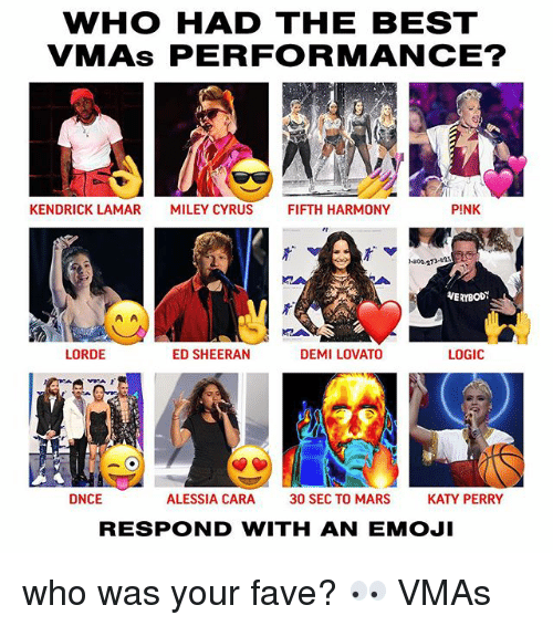 ias: WHO HAD THE BEST  VMAs PERFORMANCE?  KENDRICK LAMAR  MILEY CYRUS  FIFTH HARMONY  PINK  -800-273-as  VERYBODY  LORDE  ED SHEERAN  DEMI LOVATO  LOGIC  IA  フ「  DNCE  ALESSIA CARA  30 SEC TO MARS  KATY PERRY  RESPOND WITH AN EMOJI who was your fave? 👀 VMAs