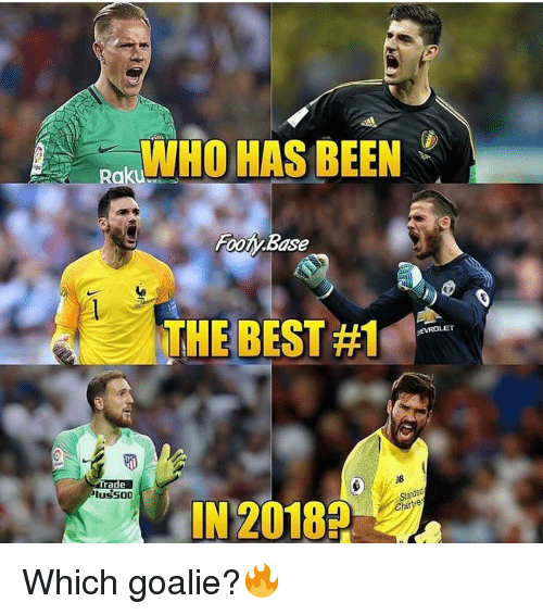 Memes, Best, and Been: WHO HAS BEEN  Footy Base  THE BEST #1  EVROLE  rade  luss00  IN 20182  Sanda  arve Which goalie?🔥