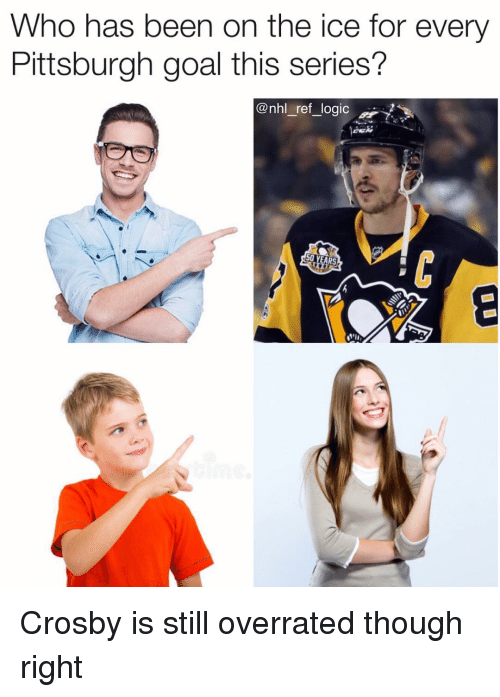 Logic, Memes, and National Hockey League (NHL): Who has been on the ice for every  Pittsburgh goal this series?  @nhl _ref_logic  50 YEARS Crosby is still overrated though right