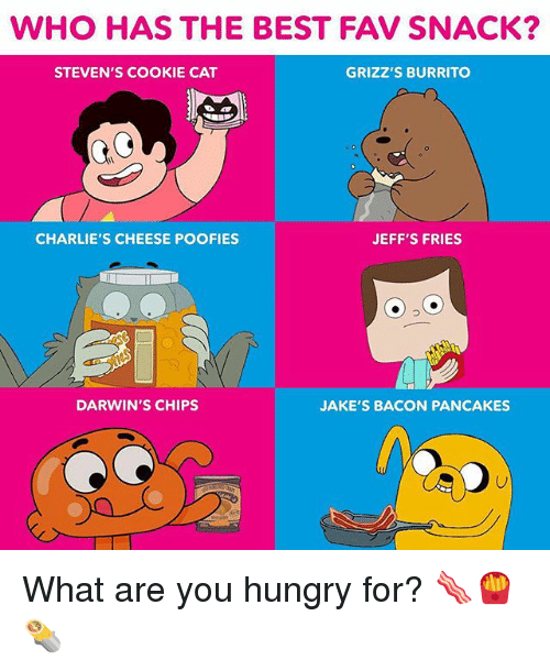 Hungryness: WHO HAS THE BEST FAV SNACK?  STEVEN'S COOKIE CAT  GRIZZ'S BURRITO  CHARLIE'S CHEESE POOFIES  JEFF'S FRIES  DARWIN'S CHIPS  JAKE'S BACON PANCAKES What are you hungry for? 🥓🍟🌯