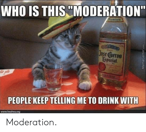 """Moderation: WHO IS THIS MODERATION""""  ase uervo  Isperial  PEOPLE KEEP TELLING ME TO DRINK WITH  www.heahea.org Moderation."""