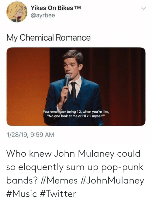 sum: Who knew John Mulaney could so eloquently sum up pop-punk bands? #Memes #JohnMulaney #Music #Twitter