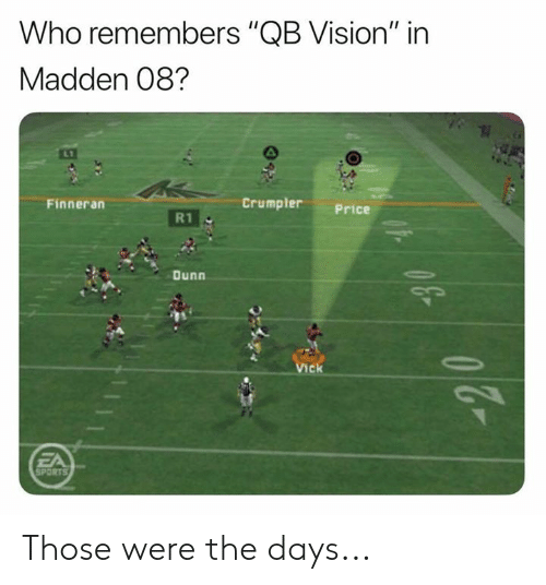 "Nfl, Sports, and Vision: Who remembers ""QB Vision"" in  Madden 08?  Crumpler  Finneran  Price  R1  Dunn  Vick  FA  SPORTS  43 Those were the days..."